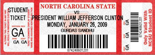 Ticket to Bill Clinton talk at NCSU